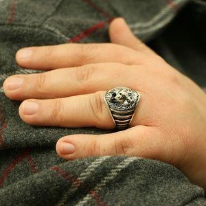 Grand Bazaar Jewlers Accessories - 925 Sterling Silver Lion Head Men's Ring Animal